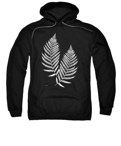 Sweatshirt featuring the mixed media Fern Pattern Black And White by Christina Rollo