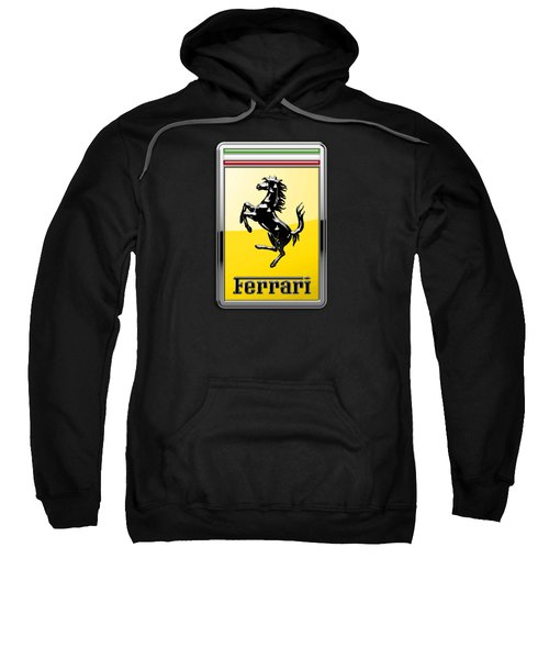 Ferrari 3d Badge- Hood Ornament On Black Sweatshirt by Serge Averbukh