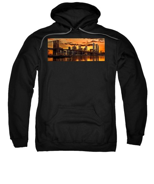 Fiery Sunset Over Manhattan  Sweatshirt by Az Jackson