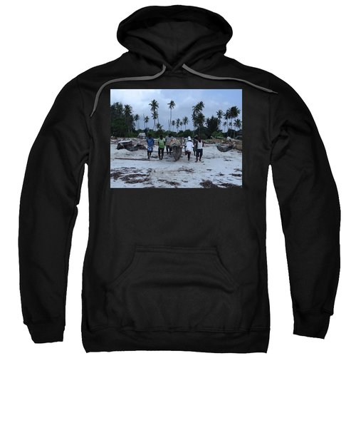 Fisherman Heading In From Their Days Catch At Sea With A Wooden Dhow Sweatshirt