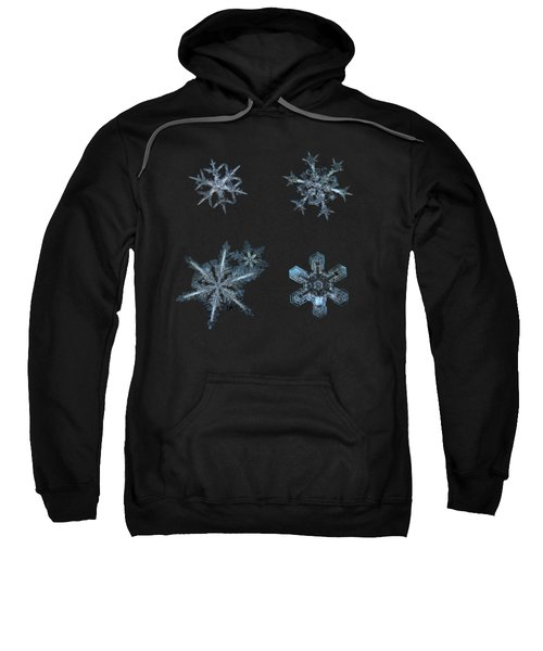Five Snowflakes On Black 3 Sweatshirt