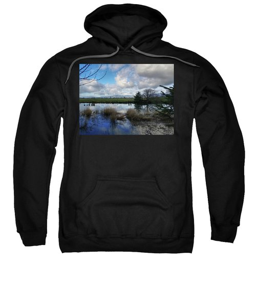 Flooding River, Field And Clouds Sweatshirt