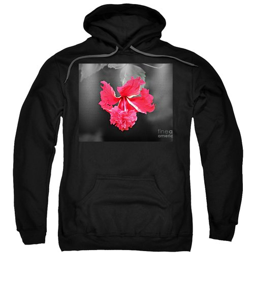 Focal Bw Red Hibiscus Multilayered Sweatshirt