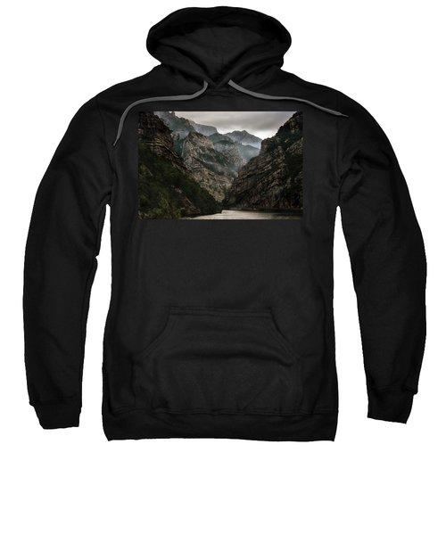 Foggy Mountains Over Neretva Gorge Sweatshirt