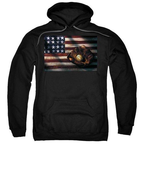 Folk Art American Flag And Baseball Mitt Sweatshirt