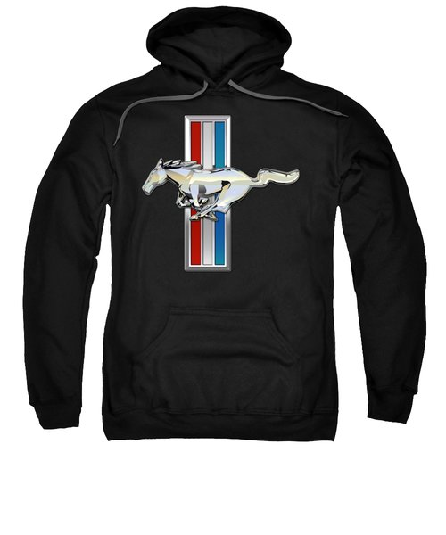 Ford Mustang - Tri Bar And Pony 3 D Badge On Black Sweatshirt