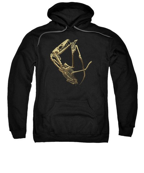 Fossil Record - Gold Pterodactyl Fossil On Black Canvas #3 Sweatshirt