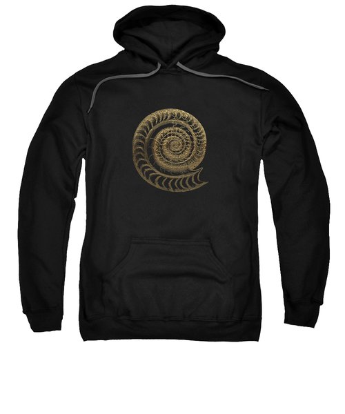 Fossil Record - Golden Ammonite Fossil On Square Black Canvas # Sweatshirt