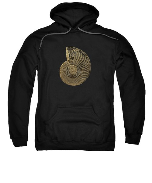 Fossil Record - Golden Ammonite Fossil On Square Black Canvas #1 Sweatshirt