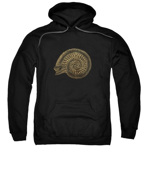 Fossil Record - Golden Ammonite Fossil On Square Black Canvas #2 Sweatshirt