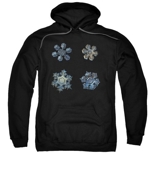 Four Snowflakes On Black 2 Sweatshirt