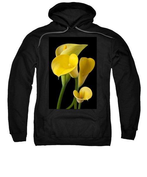 Four Yellow Calla Lilies Sweatshirt