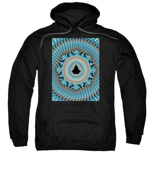 Fractal Art Crochet Style Blue And Gold Sweatshirt