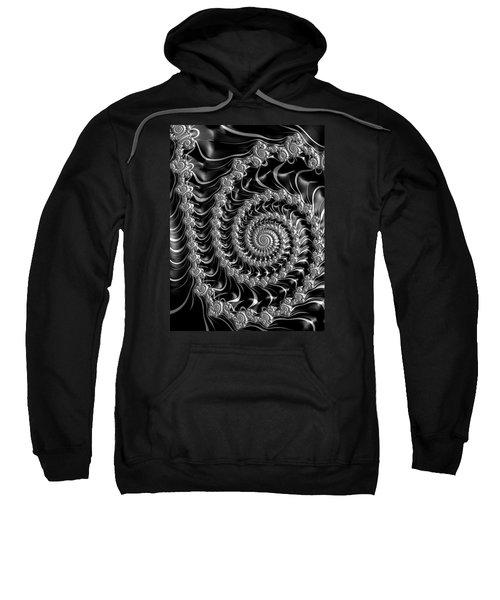 Fractal Spiral Gray Silver Black Steampunk Style Sweatshirt by Matthias Hauser