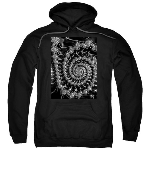 Fractal Spiral Gray Silver Black Steampunk Style Sweatshirt