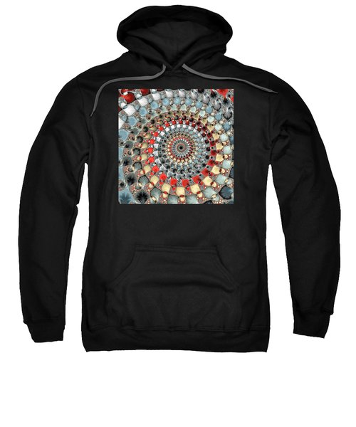 Fractal Spiral Red Grey Light Blue Square Format Sweatshirt