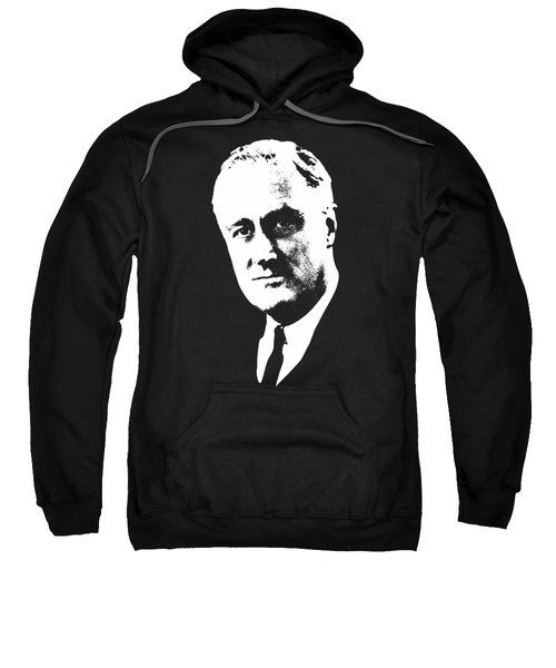 Franklin D. Roosevelt White On Black Pop Art Sweatshirt