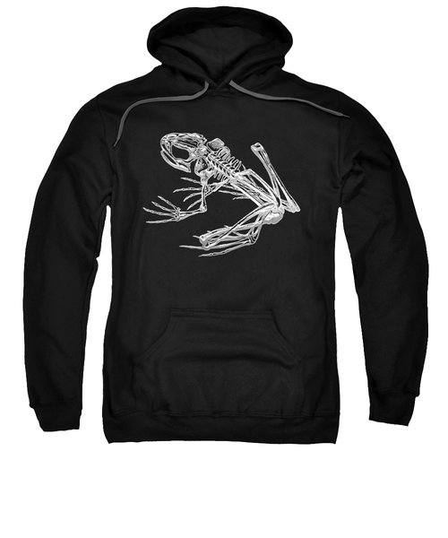 Frog Skeleton In Silver On Black  Sweatshirt
