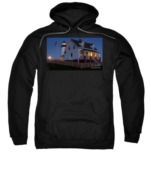Full Moon Rise At Pemaquid Light, Bristol, Maine -150858 Sweatshirt