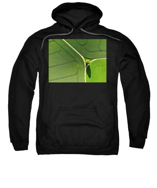 Geometric Landscape 05 Tree And Green Fields Aerial View Sweatshirt