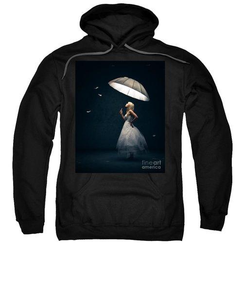Girl With Umbrella And Falling Feathers Sweatshirt