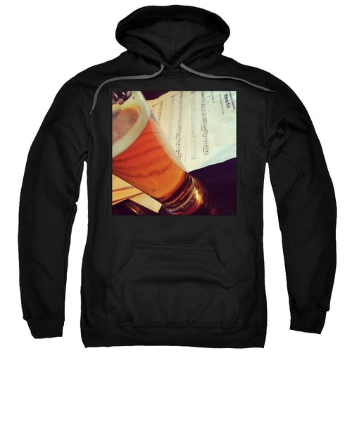 Glass Of Beer And Music Notes Sweatshirt by GoodMood Art