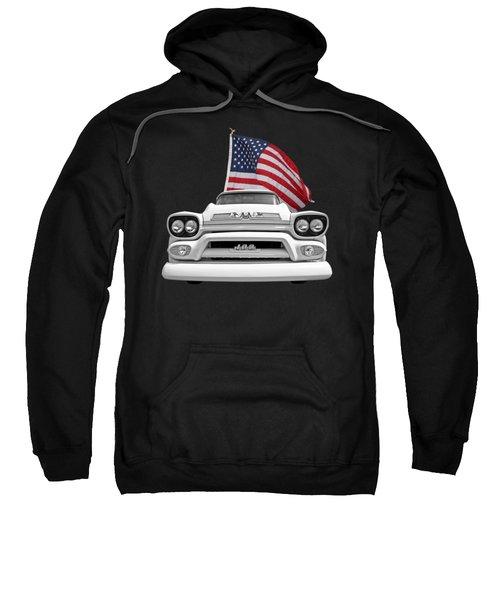 Gmc Pickup With Us Flag Sweatshirt