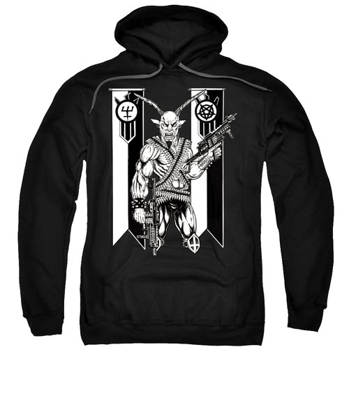 Goat War Black Sweatshirt by Alaric Barca