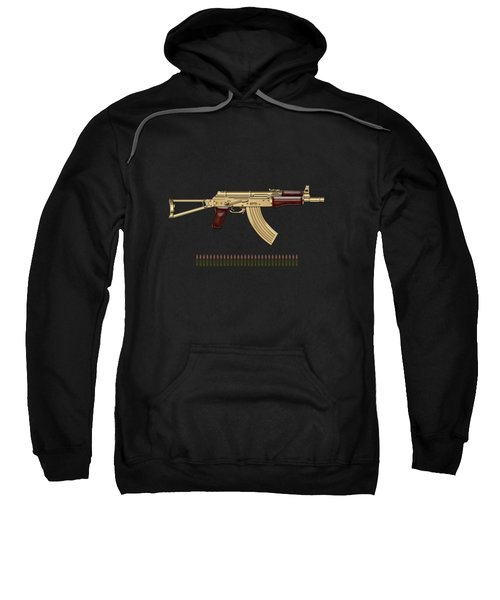 Gold A K S-74 U Assault Rifle With 5.45x39 Rounds Over Black Velvet Sweatshirt