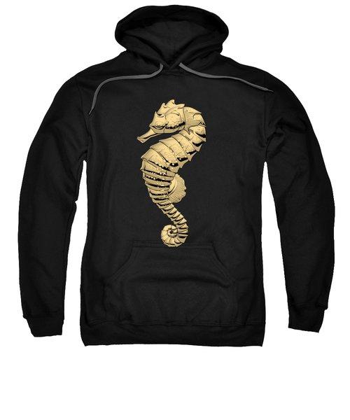 Gold Seahorse On Black Canvas Sweatshirt by Serge Averbukh