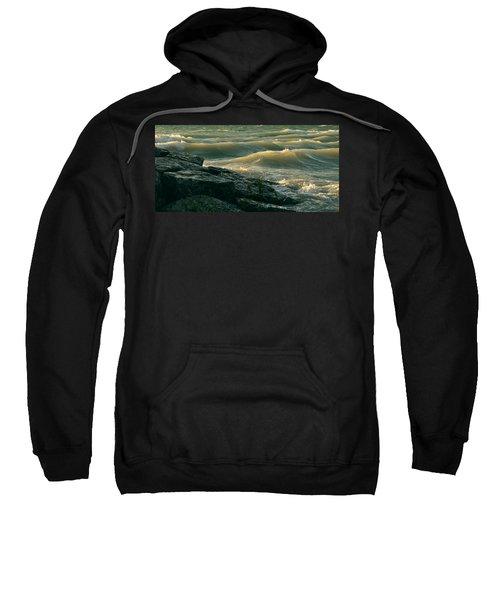 Golden Capped Sunset Waves Of Lake Michigan Sweatshirt