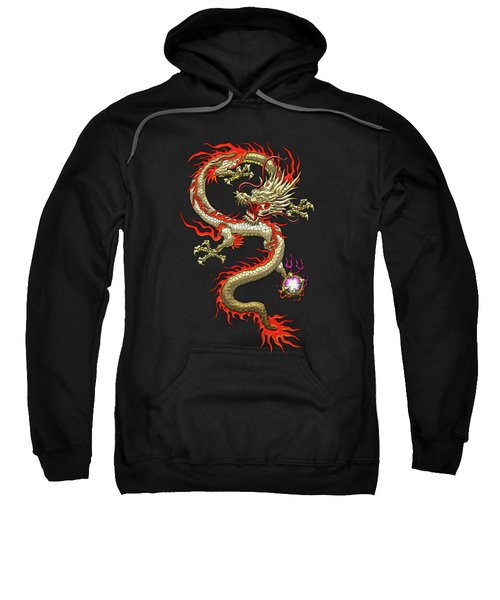 Golden Chinese Dragon Fucanglong On Black Silk Sweatshirt