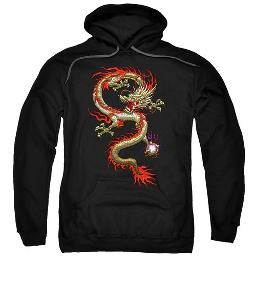Golden Chinese Dragon Fucanglong On Black Silk Sweatshirt
