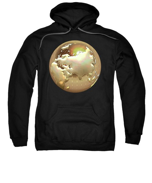 Golden Globe - Eastern Hemisphere On Black Sweatshirt