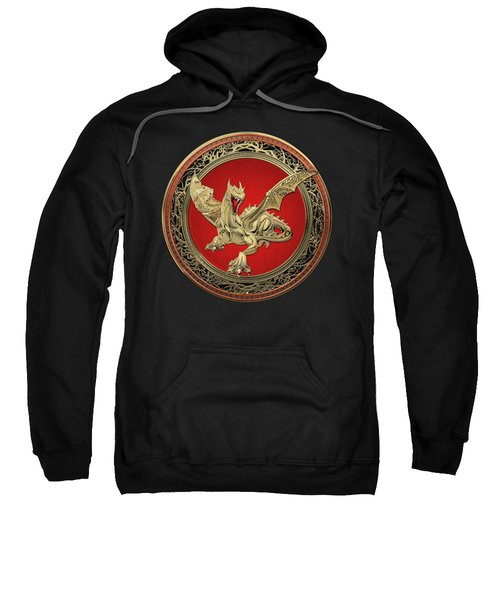 Golden Guardian Dragon Over Black Velvet Sweatshirt