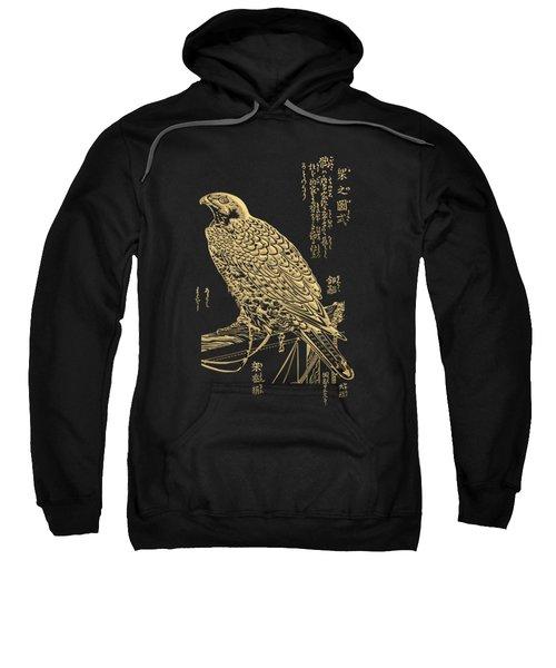 Golden Japanese Peregrine Falcon On Black Canvas  Sweatshirt