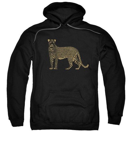 Golden Leopard On Black Canvas Sweatshirt