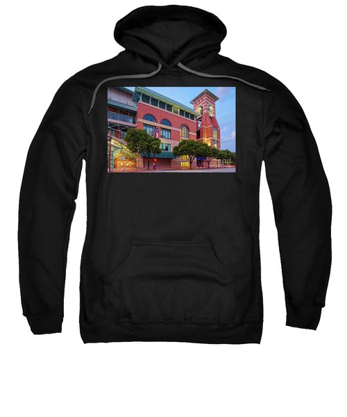 Golden Sunset Glow On The Facade Of Minute Maid Park - Downtown Houston Harris County Texas Sweatshirt