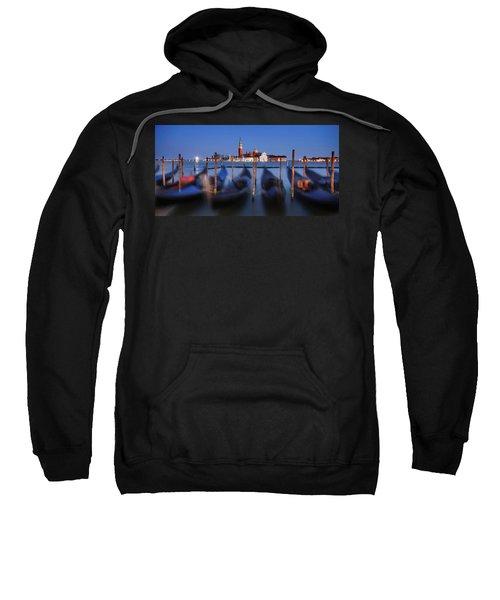 Gondolas And San Giorgio Maggiore At Night - Venice Sweatshirt