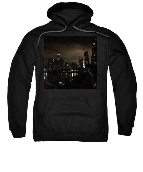 Chicago Skyline By Night Sweatshirt by Chantal Mantovani