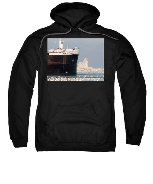 Great Lakes Ship Passing A Frozen Cleveland Lighthouse Sweatshirt