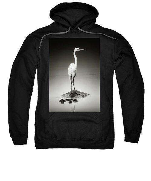 Great White Egret On Hippo Sweatshirt