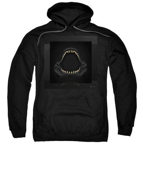 Great White Shark Jaws With Gold Teeth  Sweatshirt by Serge Averbukh