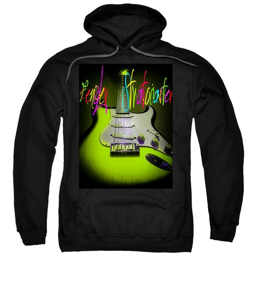 Sweatshirt featuring the photograph Green Fender Stratocaster  by Guitar Wacky