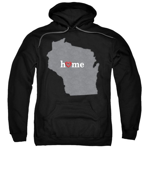State Map Outline Wisconsin With Heart In Home Sweatshirt