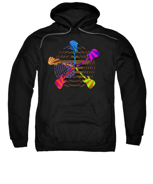 Sweatshirt featuring the digital art Guitars Stars And Stripes  by Guitar Wacky