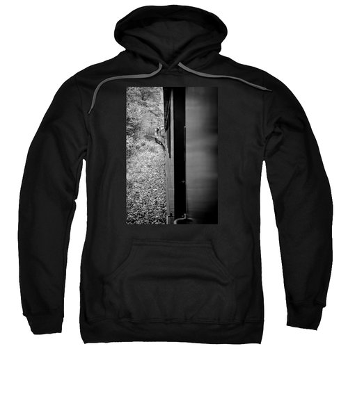 Half In Half Out Of The Train In The Mountains Sweatshirt