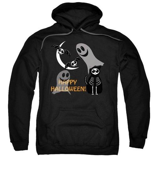 Halloween Bats Ghosts And Cat Sweatshirt