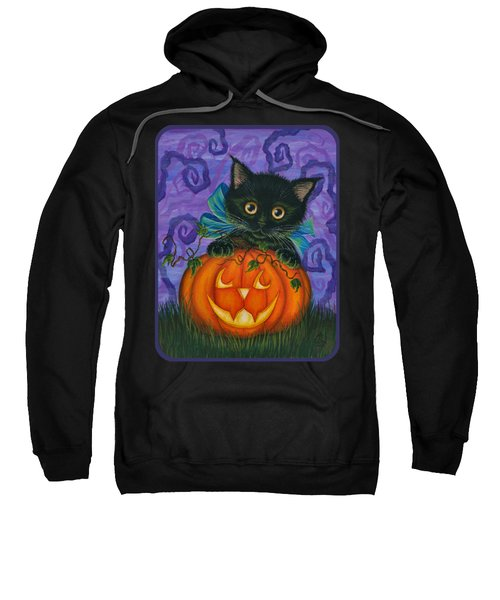 Halloween Black Kitty - Cat And Jackolantern Sweatshirt
