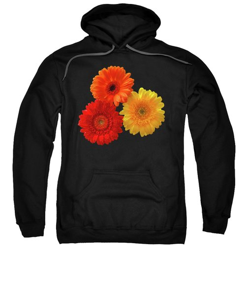 Happiness - Orange Red And Yellow Gerbera On Black Sweatshirt by Gill Billington